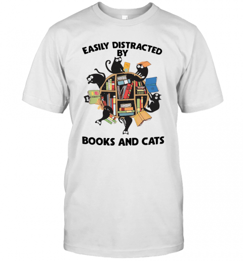 Easily Distracted By Books And Cats T-Shirt Classic Men's T-shirt
