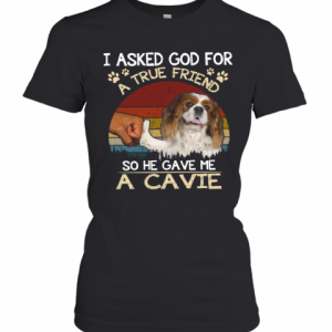 I Asked God For A True Friend So He Gave Me A Cavie Dog Vintage T-Shirt Classic Women's T-shirt