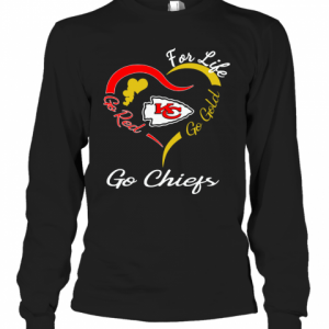 Kansas City Chiefs Heart For Life Go Red Go Gold Go Chiefs T-Shirt Long Sleeved T-shirt