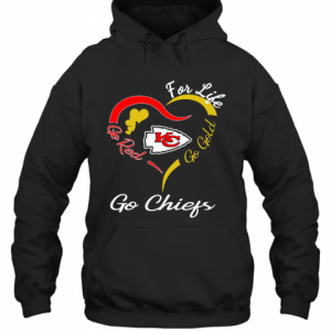 Kansas City Chiefs Heart For Life Go Red Go Gold Go Chiefs T-Shirt Unisex Hoodie