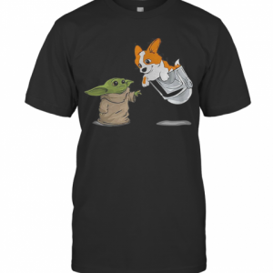 Star Wars Baby Yoda And Corgi In Pocket Mandalorian T-Shirt Classic Men's T-shirt