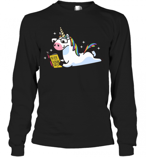 Unicorn Riding Believe In Yourself T-Shirt Long Sleeved T-shirt
