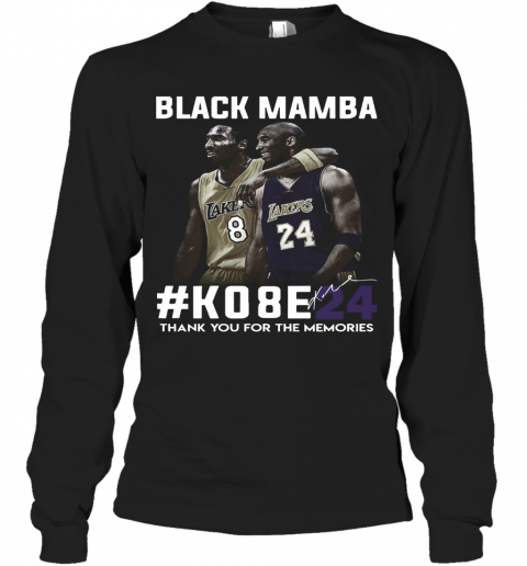 Black Mamba #Ko8e24 Thank You For The Memories T-Shirt Long Sleeved T-shirt