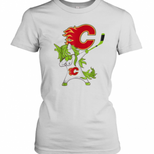 Pretty St Patrick Day Dabbing Unicorn Hockey Stick Calgary Flame T-Shirt Classic Women's T-shirt