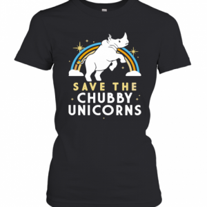 Rainbow Save The Chubby Unicorns T-Shirt Classic Women's T-shirt
